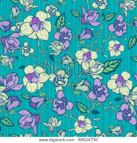 Abstract floral seamless pattern, vector