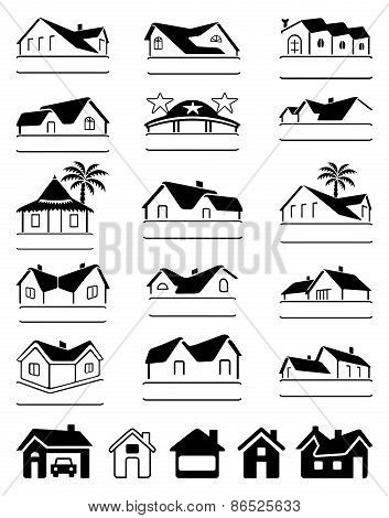 Buildings Black Signs Logo Set