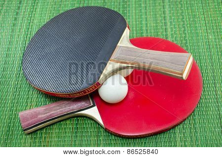 Two Vintage Table Tennis Rackets And Ping Pong Balls