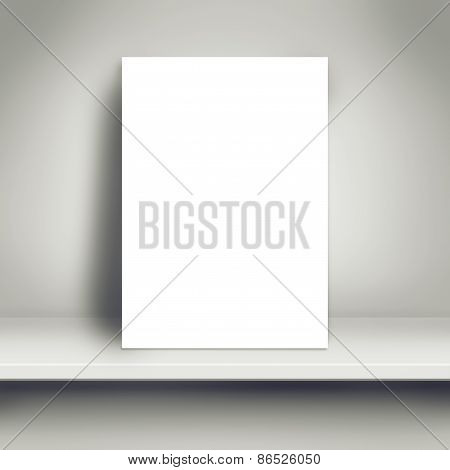 Blank White Poster Mock Up On White Shelf