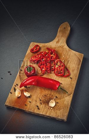Pepper And Garlic As Hot Food Ingredients For Piquant Cuisine