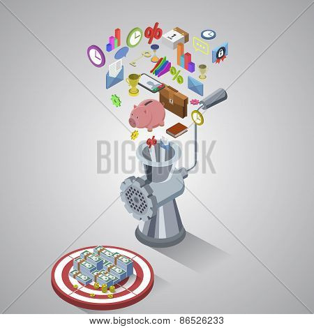 Money making process, business process flat style isometric