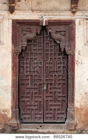 Old Wooden Door In Jahangir Mahal Or Orchha Palace