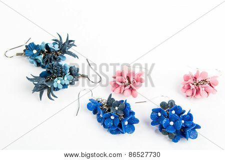Handmade Earrings Isolated On White Background