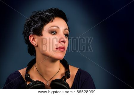 Girl With Short Hair With Headphones