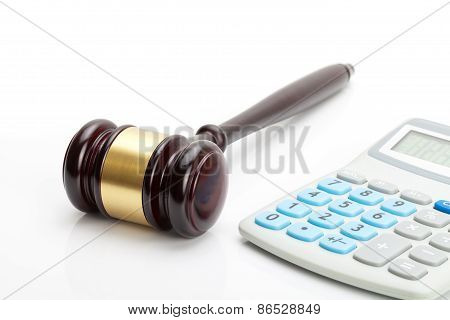 Wooden Judge's Gavel And Calculator