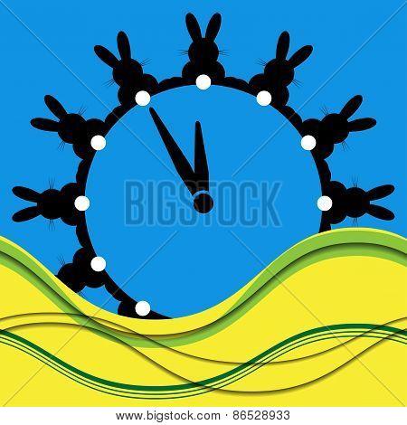 Twelve Black Bunnies As Wall Clocks