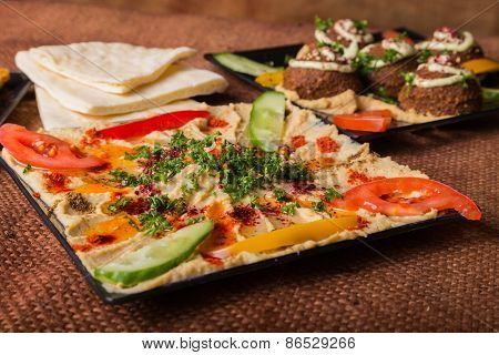 Eastern food. Snack. Hummus