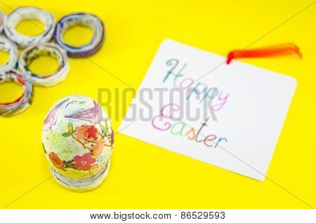 Hand Painted Easter Egg On Yellow Background