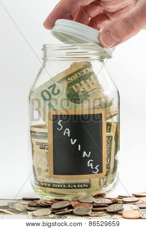 Hand Opening Glass Jar Used For Savings