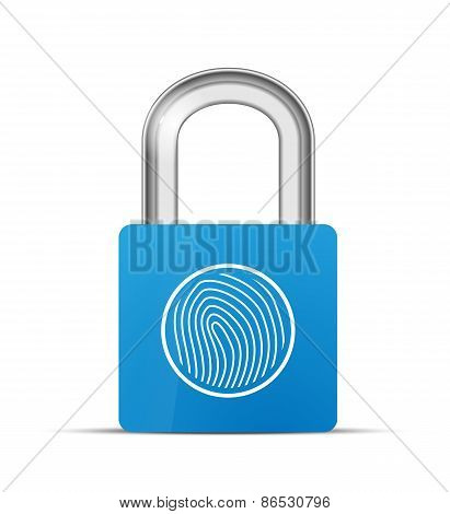 Closed blue realistic lock with fingerprint scanner isolated on white