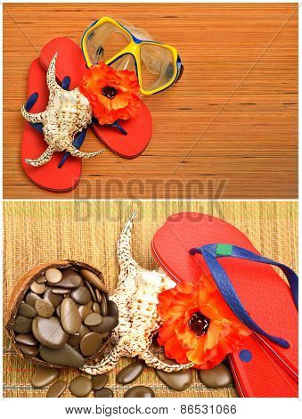 Mask, Seashell, Flower And Flip Flop Sandals On The Wood