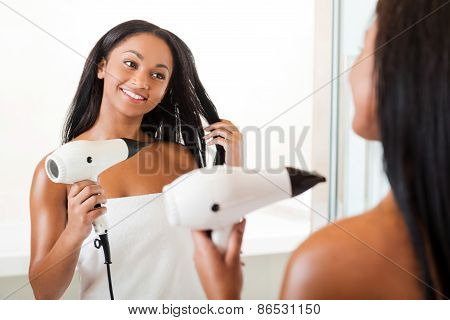 Drying Hair In Bathroom.