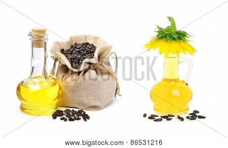 Carafe With Vegetable Oil And Bag With Sunflower Seeds