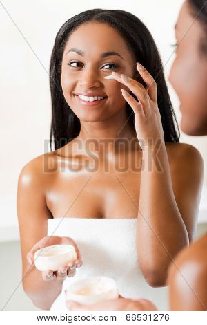 Keeping Her Skin Fresh And Smooth.