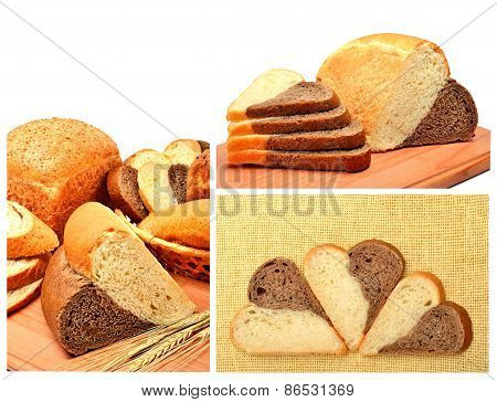 Fresh Bread, Wheat Ears And Bread Slices On The Wooden Board
