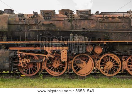 Old rusted steam locomotive in the Netherlands