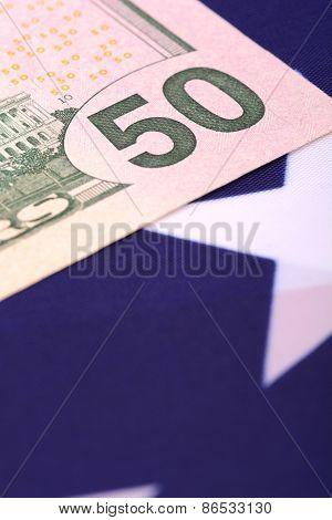 Dollars On American Flag