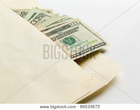 Stack Of Twenty Dollar Bills In Envelope