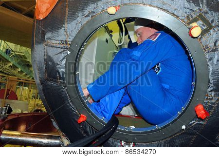 Astronaut Terry Virts In Soyuz Spacecraft During Fit Check