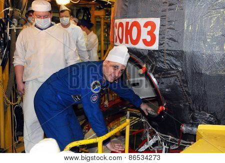 Cosmonaut Anton Shkaplerov During Fit Check