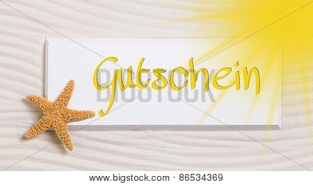Travel voucher with the german word for a gift certificate,