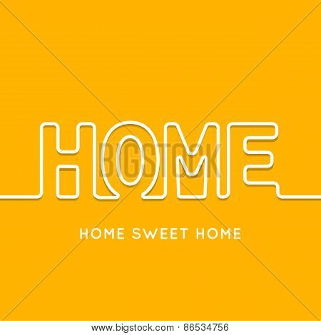 Home icon with shadow in orange background. Vector illustration