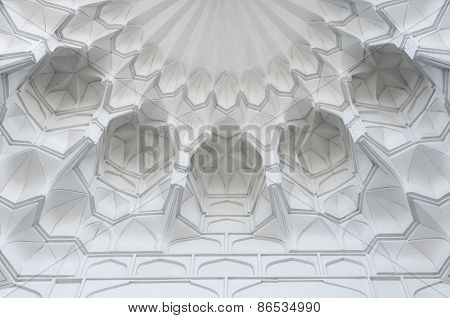 SAMARQUAND, UZBEKISTAN - MARCH 14, 2015: Oriental ancient complex Shah i Zinda. Fragment of the mosque dome. The ancient city is part of UNESCO World Heritage.