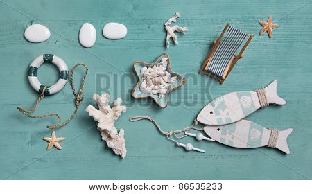 Nautical or maritime decoration for summer vacation: shells, fishes, starfish,