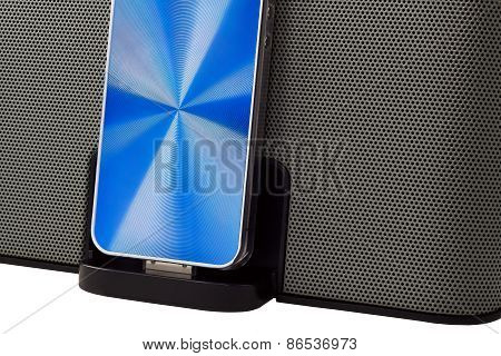 Docking Station With  Mobile Phone Isolated On A White Background