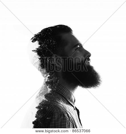 Double Exposure Of Bearded Brutal Man And Pinewood