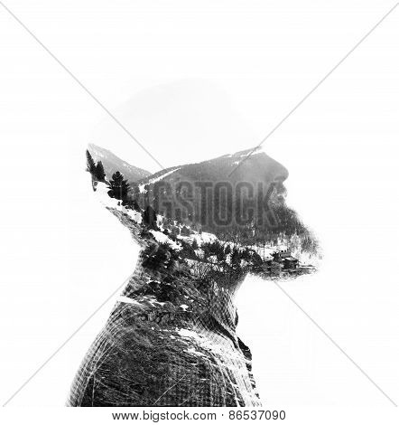 Double Exposure Of Bearded Man And Mountain Landscape
