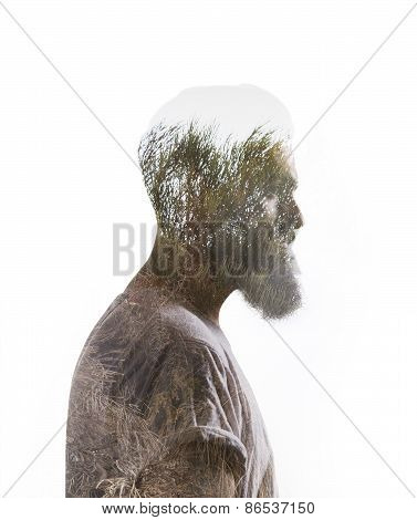 Double Exposure Of Bearded Guy And Pine