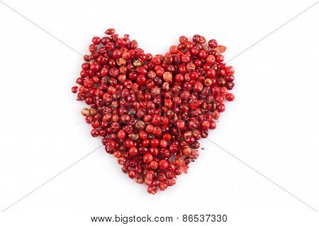 Red Peppercorns Hart Shape