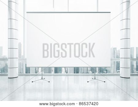 Projection Screen On The Background Of Panoramic Window