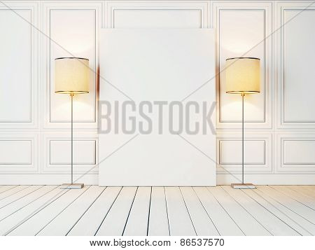 White Canvas And Two Lamps In The White Room