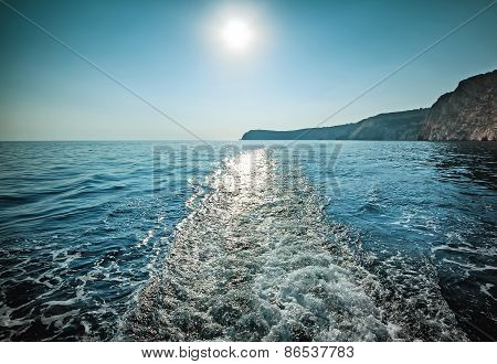 Sea Water With A Trace Of The Ship