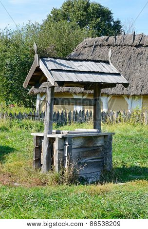old wooden well in the Ukrainian village