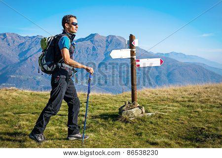 Trekker at crossroad
