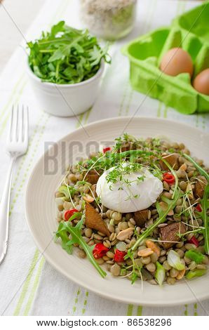 Lentil Salad With Poached Egg