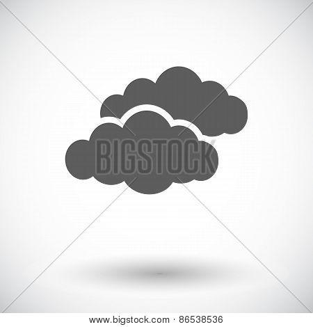 Overcast single flat icon.