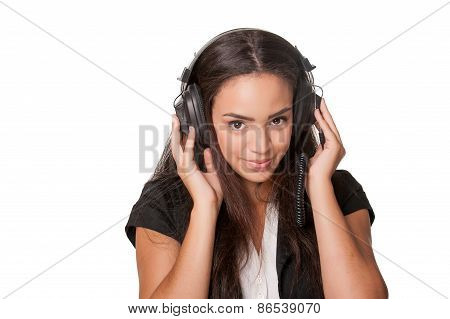 Young Brunette Lady Listening To Headphones, On White