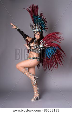 Colorful Samba Dancer, On Grey Background