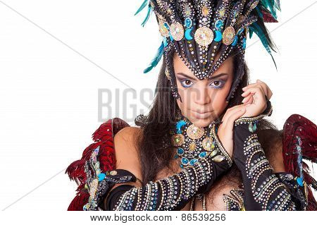 Beautiful Samba Dancer Portrait, Isolated On White