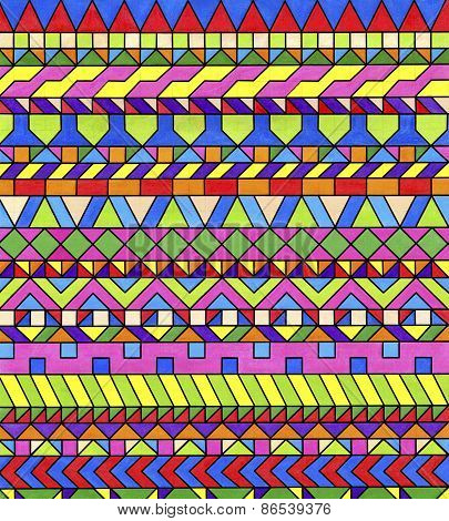 Colorful geometric patterns. Decorative motifs of colored triangles, squares, rectangles, and rhombu