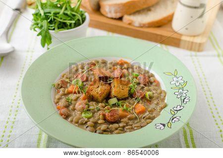 Lentil Soup With Viennese Sausage