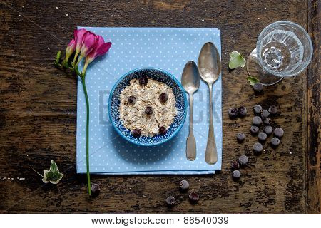 Breakfast Oatmeal Porridge Blueberries