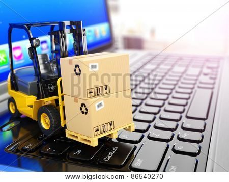Concept of delivering, shipping or logistics. Forklift on laptop keyboard. 3d