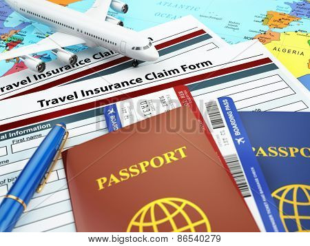 Travel insurance application form, passport and airplane on the map. 3d