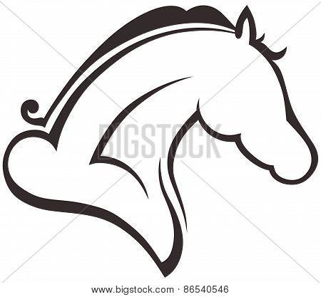 Silhouette black horse